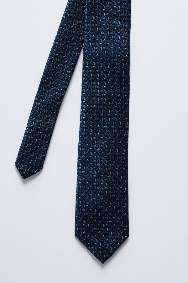 BLACK AND TEAL GEOMETRIC SILK TIE