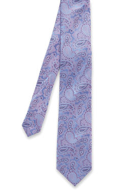 PINK AND LILAC SILK PAISLEY TIE