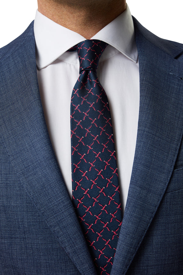 NAVY AND RED JACQUARD BIRD SILK TIE