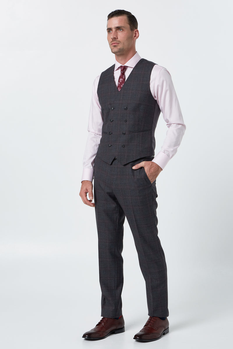 CHARCOAL AND RED PRINCE OF WALES WOOL MELANGE CHECK SLIM FIT KINGS VEST
