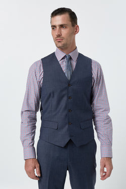 BLUE MELANGE SUPER 100'S WOOL SLIM FIT HEARTS VEST