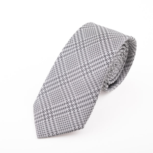 GREY AND SILVER PRINCE OF WALES CHECK SILK VARNA TIE