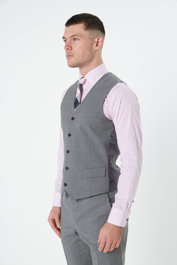GREY TEXTURED MICRO SUPER 100'S WOOL SLIM FIT HEARTS VEST