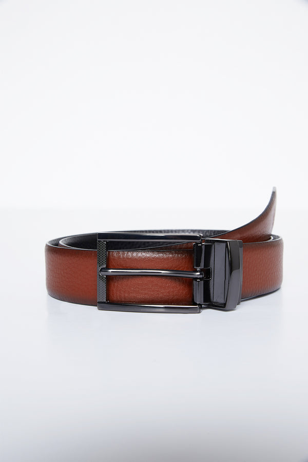 TAN AND BLACK REVERSIBLE LEATHER NIKO BELT
