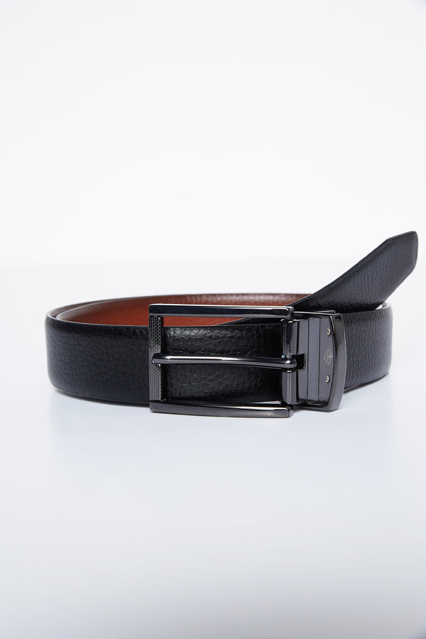 BLACK AND BROWN REVERSIBLE LEATHER NIKO BELT