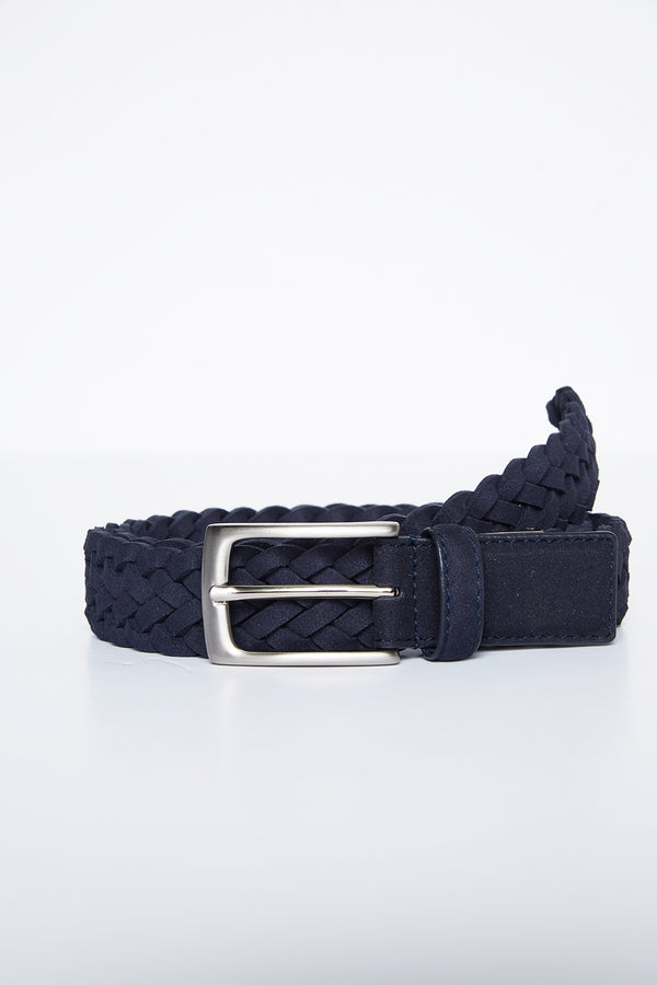 NAVY SUEDE WOVEN LEATHER ZAMSHA BELT