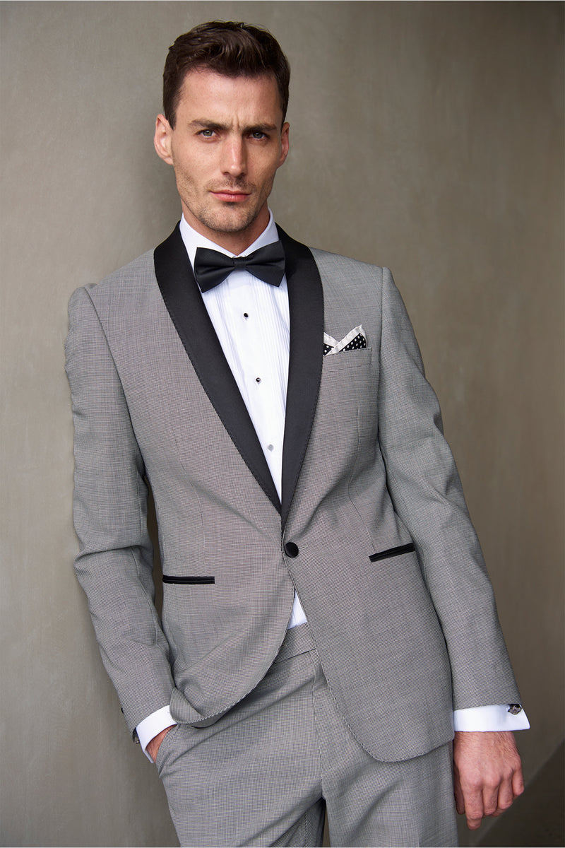 BLACK AND WHITE HOUNDSTOOTH WOOL SLIM FIT RYTSAR TUXEDO JACKET