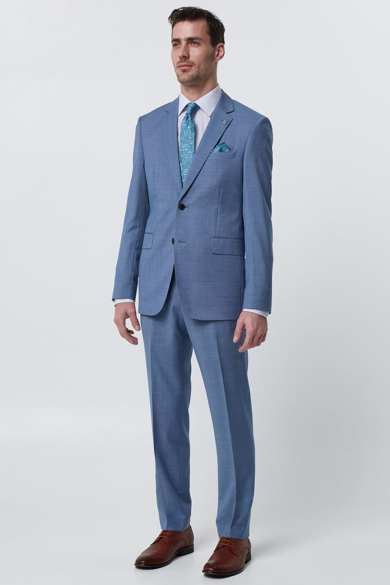 LIGHT BLUE MICRO TEXTURE WOOL REGULAR FIT CAVIAR JACKET