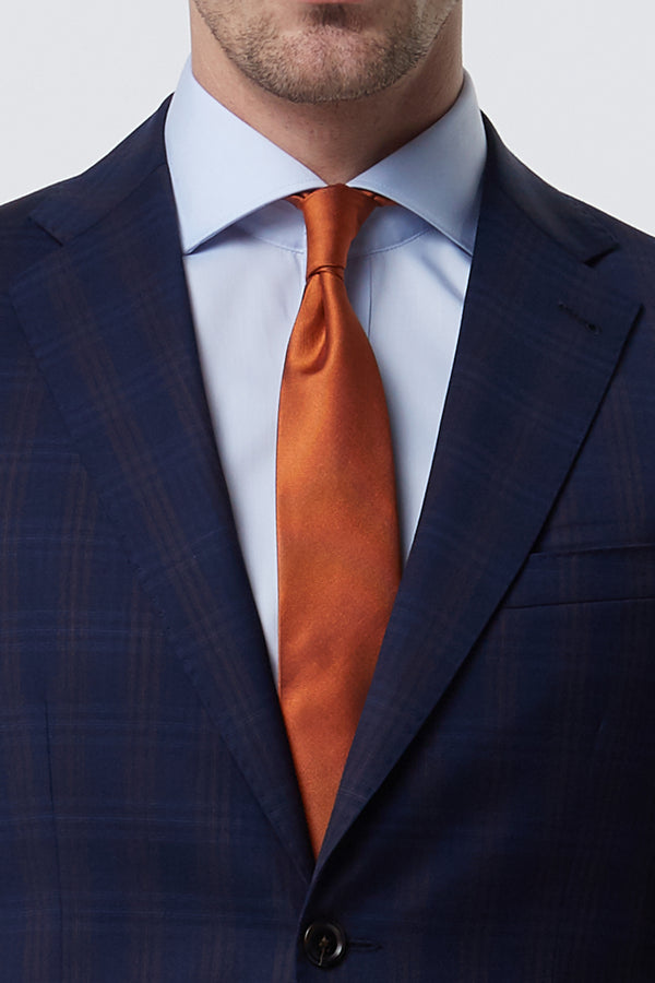 ORANGE TEXTURED PLAIN SILK GROS GRAIN TIE