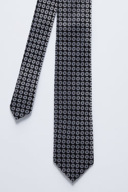 BLACK AND SILVER FLORAL SILK TIE
