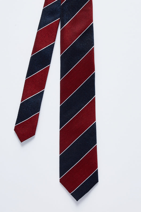 NAVY AND RED CLUB STRIPE SILK TIE
