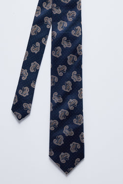 NAVY AND BROWN PAISLEY SILK TIE