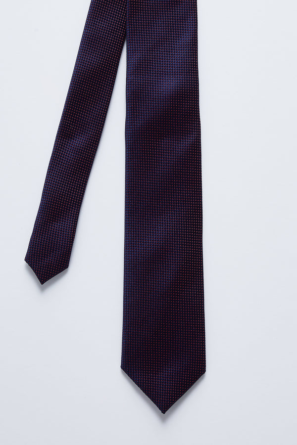 NAVY AND RED MICRO DOT SILK TIE