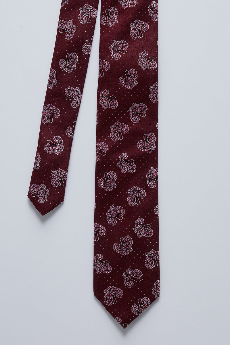 RED AND PINK PAISLEY SILK TIE