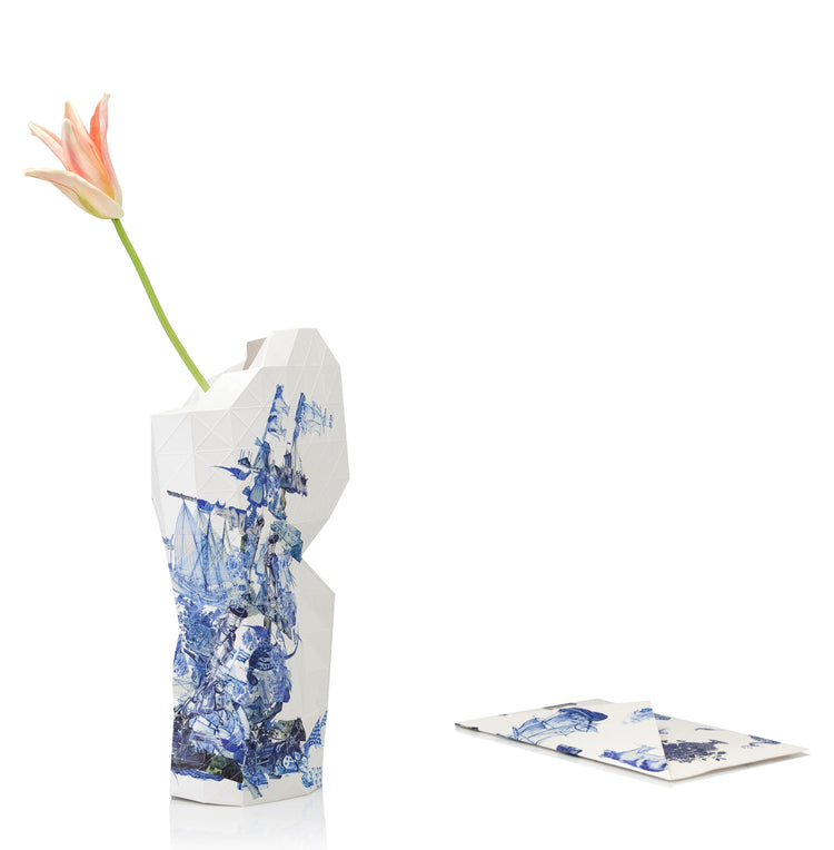 Paper Vase Cover - Delft Blue - Large