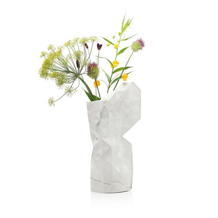 Paper Vase Cover - Marble White - Large