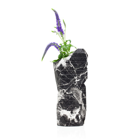 Paper Vase Cover - Marble Black - Small