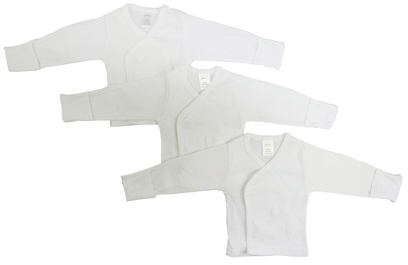 Long Sleeve Side Snap With Mittens - 3 Pack