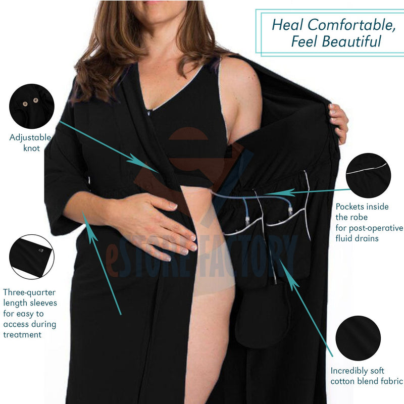 Surgery Recovery Robe with Drain Management plus Pocketed Bra- Black