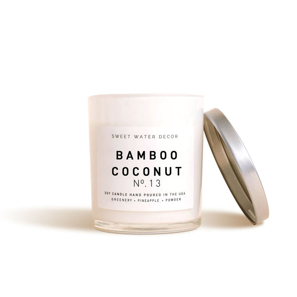 Bamboo Coconut Soy Candle | White Jar Candle