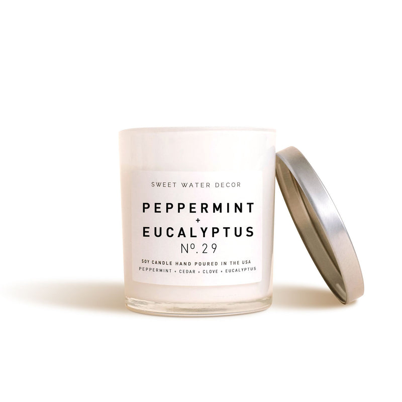 Peppermint and Eucalyptus Soy Candle | White Jar Candle