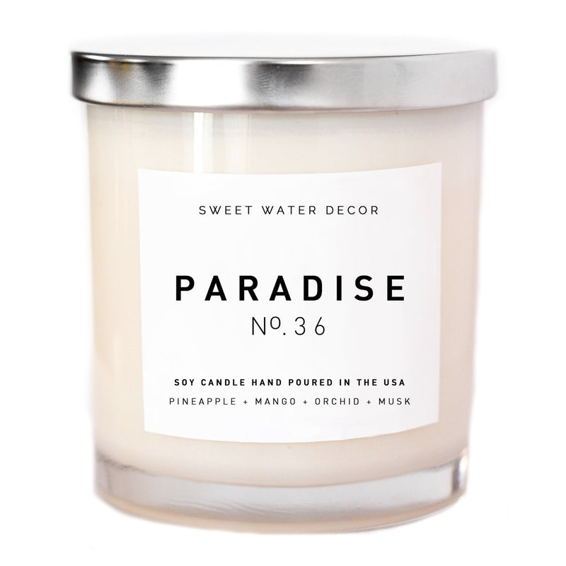Paradise Soy Candle | White Jar Candle-Candles-Sweet Water Decor-Sweet Water Decor-Motivational-Chic-Rustic-Home-Office-Decor-Hand-Lettered-Wholesale