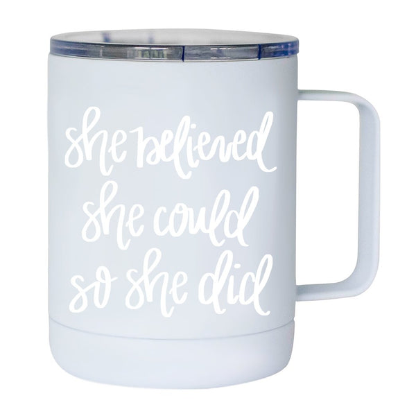 She Believed She Could So She Did Metal Coffee Mug-Coffee Mugs-Sweet Water Decor-Sweet Water Decor-Motivational-Chic-Rustic-Home-Office-Decor-Hand-Lettered-Wholesale