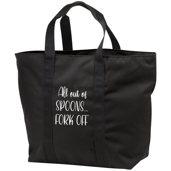 All out of Spoons black zippered Tote Bag