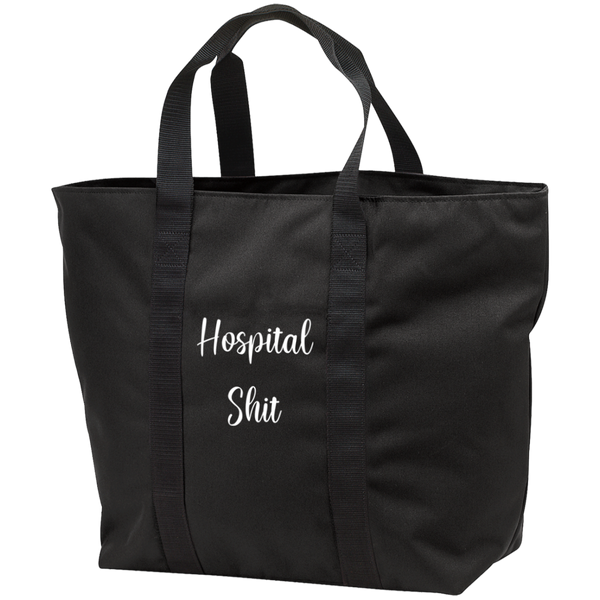 Hospital Shit Black Zippered Tote Bag