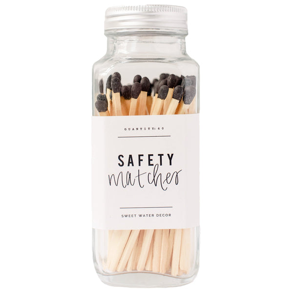 Black Safety Matches - Glass Jar-Matches-Sweet Water Decor-Sweet Water Decor-Motivational-Chic-Rustic-Home-Office-Decor-Hand-Lettered-Wholesale