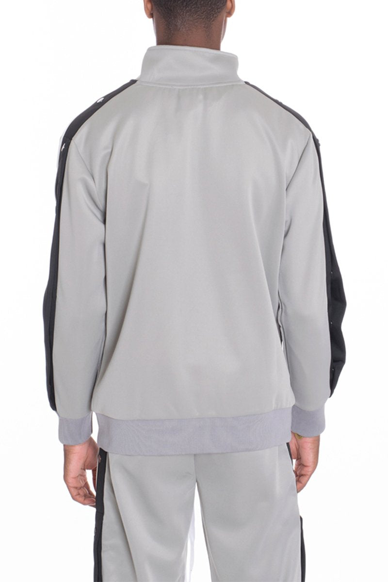 SNAP BUTTON TRACK JACKET- GREY