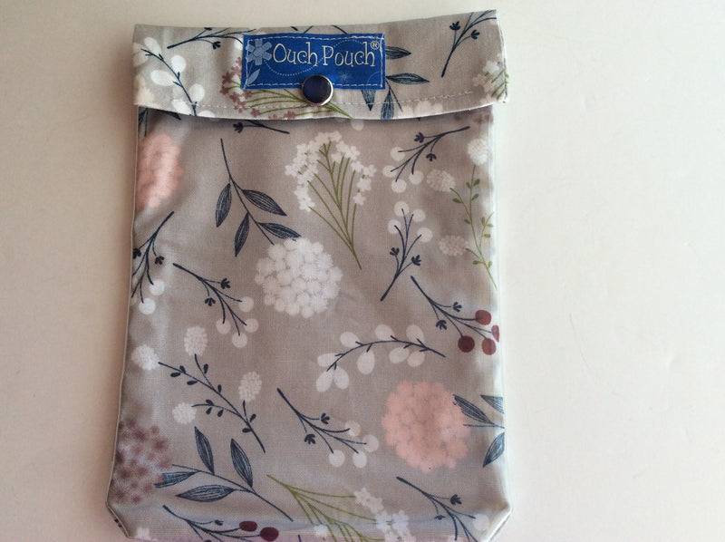 Gray Wildflower Ouch Pouch Set