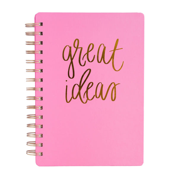 Great Ideas Pink Spiral Notebook-Notebooks-Sweet Water Decor-Sweet Water Decor-Motivational-Chic-Rustic-Home-Office-Decor-Hand-Lettered-Wholesale