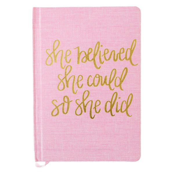 She Believed She Could Pink and Gold Fabric Journal-Notebooks-Sweet Water Decor-Sweet Water Decor-Motivational-Chic-Rustic-Home-Office-Decor-Hand-Lettered-Wholesale