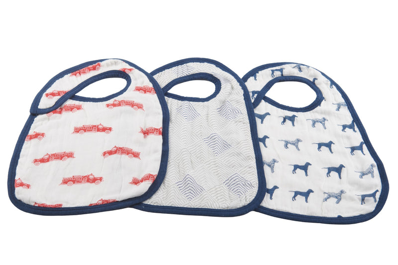 Fire Truck and Dalmatian Snap Bibs - Set of 3