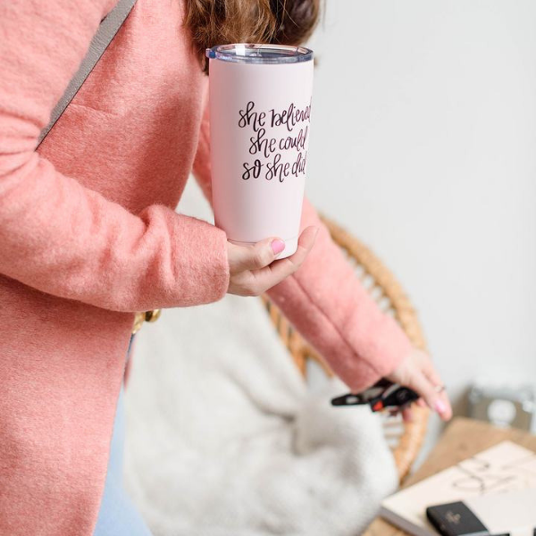 She Believed She Could So She Did Metal Travel Mug-Travel Mugs-Sweet Water Decor-Sweet Water Decor-Motivational-Chic-Rustic-Home-Office-Decor-Hand-Lettered-Wholesale