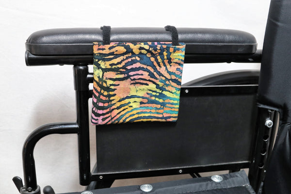 Neon Zebra Print Cell Phone Holder for Wheelchair Arm Rest