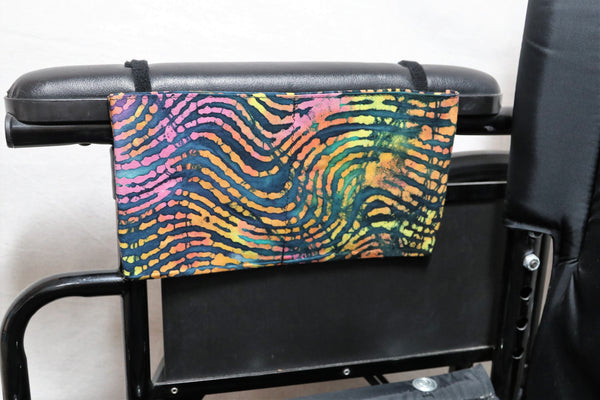 Neon Zebra Print  Small, Multiple Pocket Wheelchair Arm Rest Bag