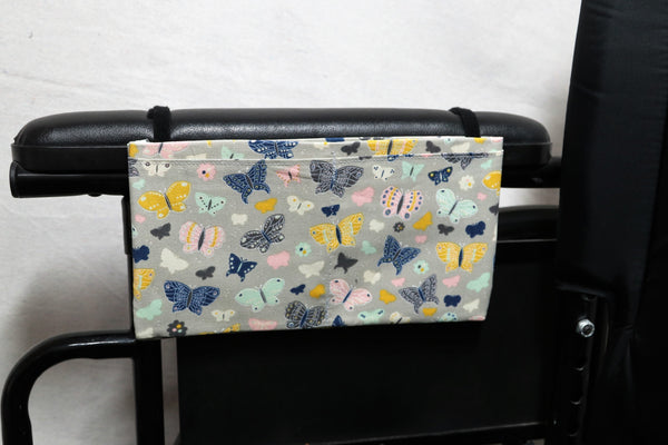 Butterflies Small, Multiple Pocket Wheelchair Arm Rest Bag