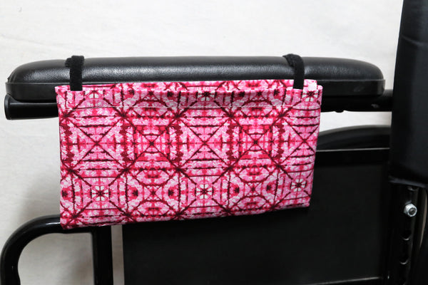 "Pink ""Stain Glass Window"" Patterned Small Single Pocket Wheelchair Arm Rest Bag"