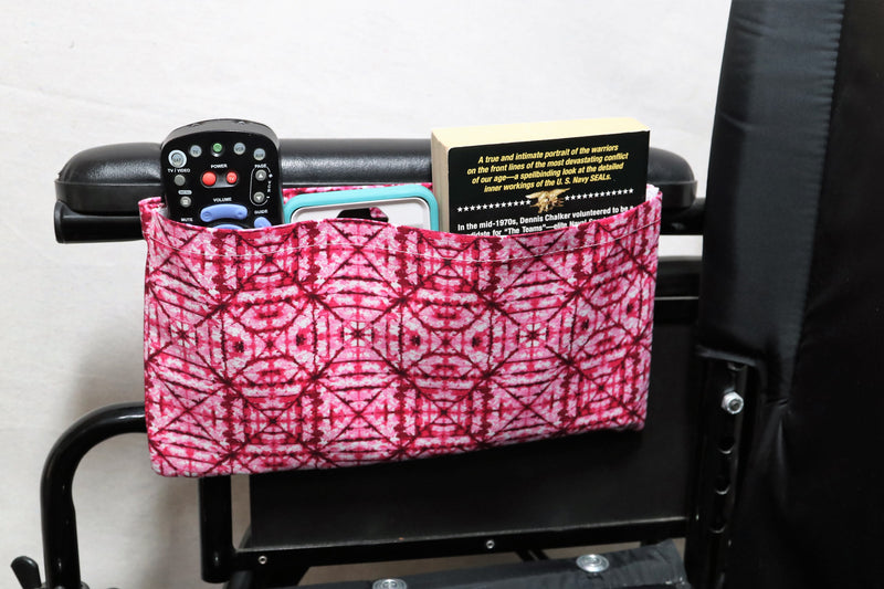 "Pink ""Stain Glass Window"" Patterned Medium Single Pocket Wheelchair Arm Rest Bag"