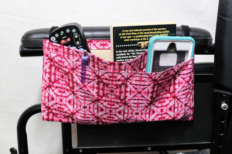 "Pink ""Stained Glass Window"" Patterned Medium Multiple Pocket Wheelchair Arm Rest Bag"