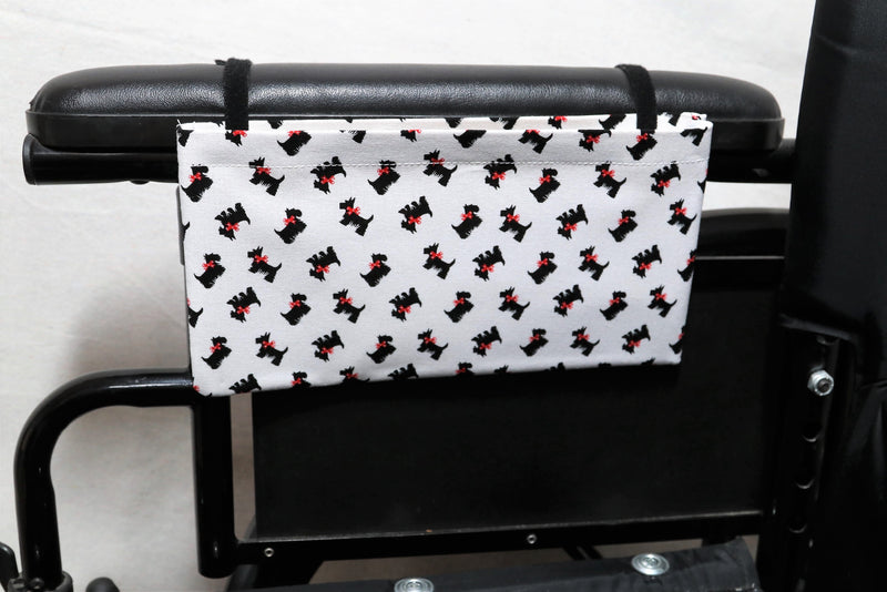 Scottish Terriers with Red Bows, Small, Single Pocket Wheelchair Arm Rest Bag