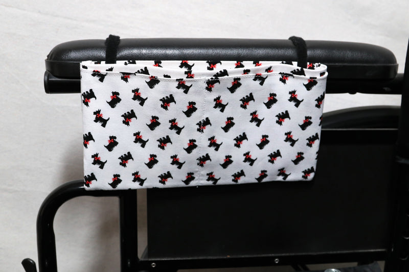 Scottish Terriers with Red Bows, Small, Multiple Pocket Wheelchair Arm Rest Bag
