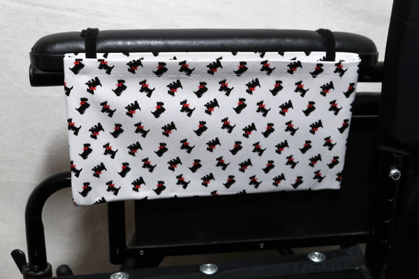 Scottish Terriers with Red Bows, Medium , Single Pocket Wheelchair Arm Rest Bag