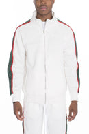 SNAP BUTTON TRACK JACKET- WHITE