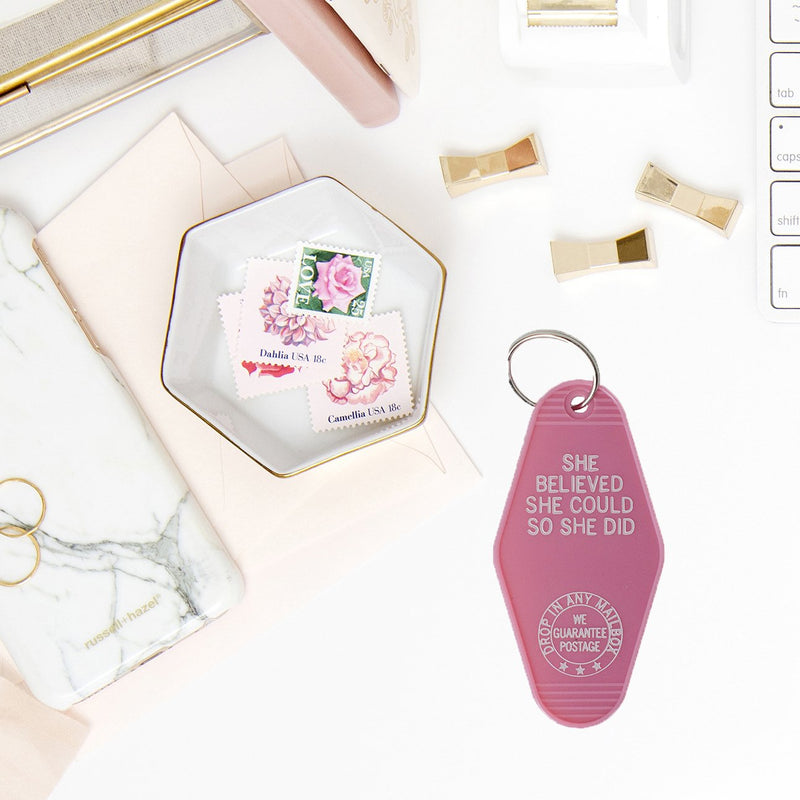 She Believed She Could So She Did Pink Keychain-Keychain-Sweet Water Decor-Sweet Water Decor-Motivational-Chic-Rustic-Home-Office-Decor-Hand-Lettered-Wholesale
