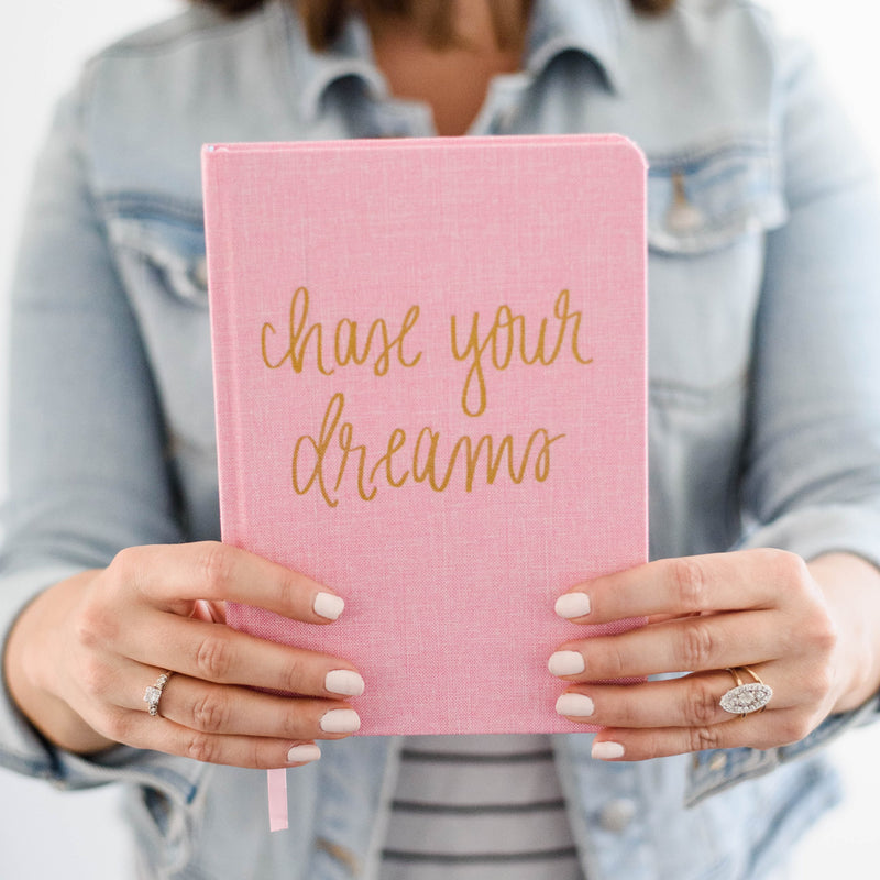 Chase Your Dreams Pink and Gold Fabric Journal-Notebooks-Sweet Water Decor-Sweet Water Decor-Motivational-Chic-Rustic-Home-Office-Decor-Hand-Lettered-Wholesale