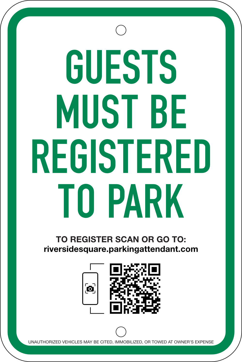 Guest Parking Self-registration Sign: Option #3, 12x18
