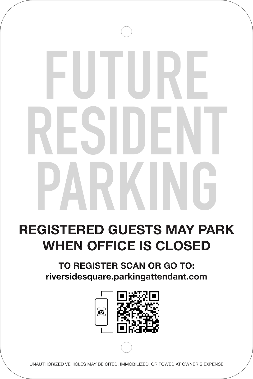 Mixed Future Resident/Guest Parking Sign Self-Registration: Option #1, 12x18